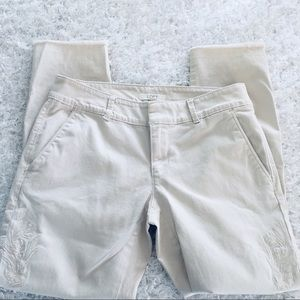 Loft | Pants with embroidery detail. Size 2